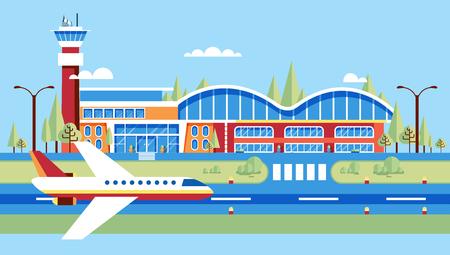 Set stock vector illustratie luchthaven, vliegtuig, landingsbaan, grote luchthaven voor vluchten, reizen, zakenreizen in vlakke stijl element info grafisch, website, games, motion design, video Stock Illustratie
