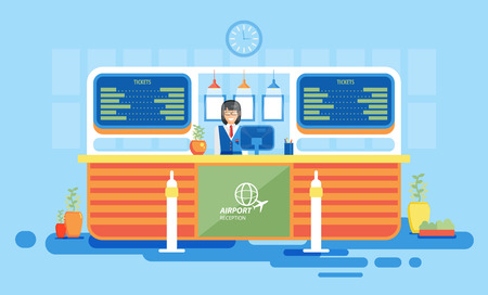 front desk: Stock vector illustration interior airport, reception at airport, information desk at airport, getting ticket at airport, reception desk at airport in flat style element info graphic, website, games