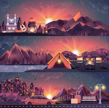 nightlife: Stock vector illustration set of night landscape, mountains, sunset, travel, hiking, nature, campfire, big tourist backpack, camping, city nightlife, tour in flat style Illustration