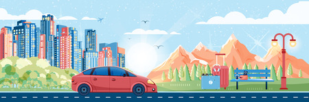 stock car: Stock vector illustration of day landscape, mountains, dawn, travel, nature, car, city sunny day, bench, luggage, tour in flat style element for info graphic, games, motion design