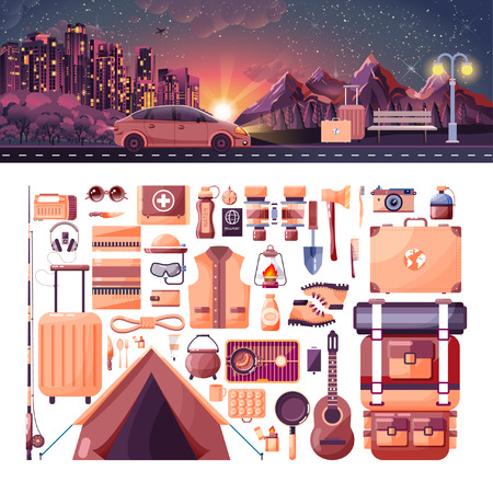Stock vector illustration of night landscape, mountains, sunset, travel, nature, car, city nightlife, bench, luggage, set of sports equipment for outdoor activities in flat style element info graphics