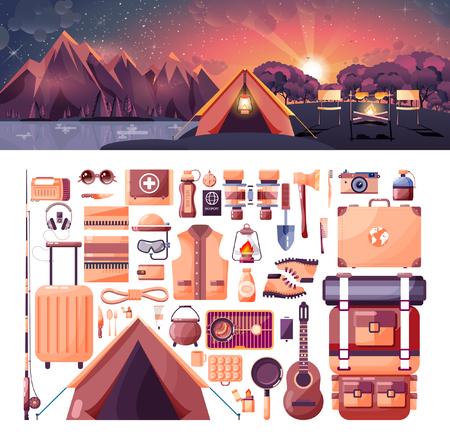 Ilustración vectorial material del paisaje día, montañas, salida del sol, los viajes, senderismo, naturaleza, tienda, fuego de campamento, camping, conjunto de artículos deportivos para actividades al aire libre en el elemento de estilo plano de información gráfica