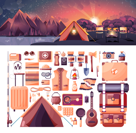 Stock vector illustration of day landscape, mountains, sunrise, travel, hiking, nature, tent, campfire, camping, set of sports equipment for outdoor activities in flat style element for info graphic Illustration