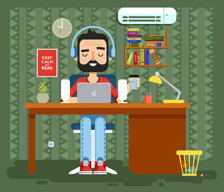 copywriter: Stock vector illustration of character programmer, copywriter, gamer, freelancer, designer, man in headphones with beard at home, computer flat style element info graphic, website, game, motion design