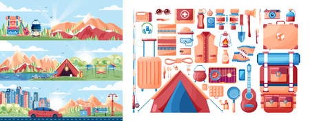 stock car: Stock vector illustration set of day landscape, mountains, sunrise, hiking, nature, campfire, big tourist backpack, camping, car, city daylife, tour in flat style Illustration