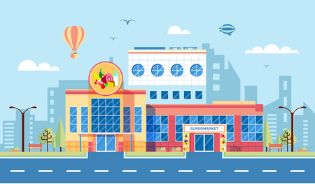 medium: Stock vector illustration city street with supermarket in flat style element for infographic, website, icon, games, motion design, video