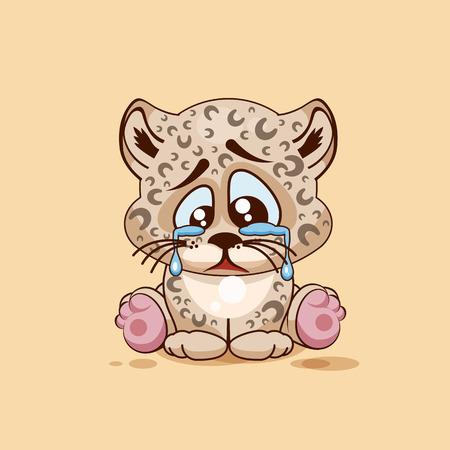 Vector Illustration isolé Emoji dessin animé caractère triste, frustré Leopard cub pleurer, les larmes autocollant émoticône pour le site, infographie, vidéo, animation, site web, e-mail, newsletter, rapport, bande dessinée