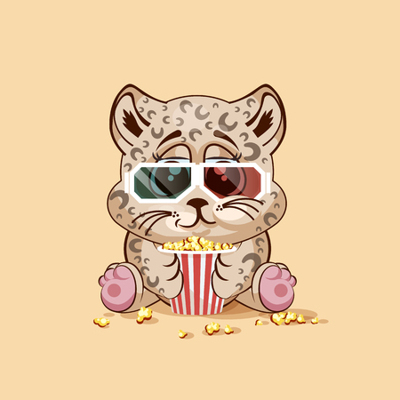 watching movie: Vector Illustration Emoji character cartoon Leopard cub chewing popcorn, watching movie in 3D glasses sticker emoticon for site, infographic, video, animation, website, e-mail, newsletter, report, comic Illustration