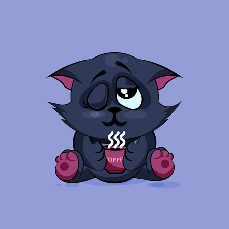 grimace: Vector Stock Illustration isolated Emoji character cartoon black cat just woke up with cup of coffee sticker emoticon for site, infographic, video, animation, websites, e-mails, newsletters, reports, comics