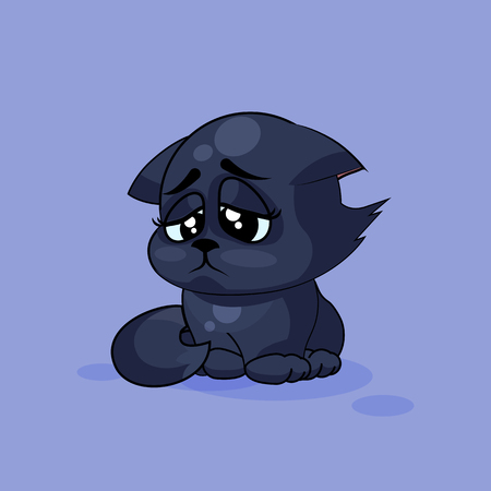 gaze: Vector Stock Illustration isolated Emoji character cartoon black cat sad and frustrated sticker emoticon for site, infographics, video, animation, websites, e-mails, newsletters, reports, comics