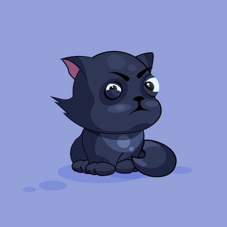 resentment: Vector Stock Illustration isolated Emoji character cartoon black cat squints and looks suspiciously sticker emoticon for site, infographics, video, animation, websites, e-mails, newsletters, reports, comics Illustration