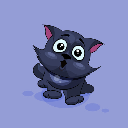 astonishment: Vector Stock Illustration isolated Emoji character cartoon black cat surprised with big eyes sticker emoticon for site, infographics, video, animation, websites, e-mails, newsletters, reports, comics