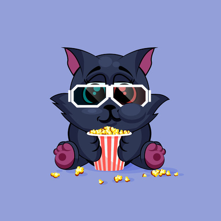 watching movie: Vector Stock Illustration Emoji character cartoon black cat chewing popcorn, watching movie in 3D glasses sticker emoticon for site, infographic, video, animation, website, e-mail, newsletter, report, comic