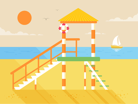 guard duty: Stock vector illustration of happy sunny summer day at the beach with lifeguard tower on island with bright sun in flat style element for info graphic, website, games, motion design