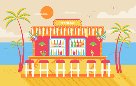 bar counter: Stock vector illustration of happy sunny summer day beach, bar counter, barstools for recreation on island, bright sun, palm trees in flat style element for info graphic, website, games, motion design Illustration