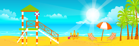 Stock vector illustration of happy sunny summer day at the beach with lifeguard tower on island with bright sun, palm trees in flat style element for info graphic, website, games, motion design