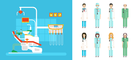ejector: Stock vector illustration set of dental office with dental chair, medical staff in flat style element for infographic, website, icon, games, motion design, video