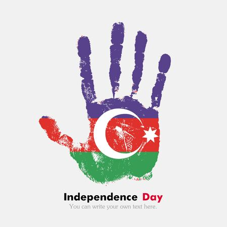 hand print: Hand print, which bears the Azerbaijani flag. Independence Day. Grunge style. Grungy hand print with the flag. Hand print and five fingers. Used as an icon, card, greeting, printed materials.