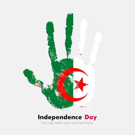 hand print: Hand print, which bears the Algeria flag. Independence Day. Grunge style. Grungy hand print with the flag. Hand print and five fingers. Used as an icon, card, greeting, printed materials.