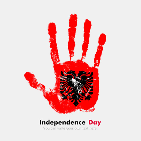 hand print: Hand print, which bears the flag of Albania. Independence Day. Grunge style. Grungy hand print with the flag. Hand print and five fingers. Used as an icon, card, greeting, printed materials. Illustration