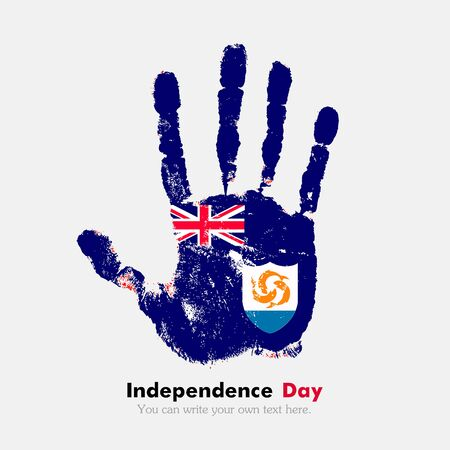 hand print: Hand print, which bears the Anguilla flag. Independence Day. Grunge style. Grungy hand print with the flag. Hand print and five fingers. Used as an icon, card, greeting, printed materials.