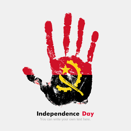 hand print: Hand print, which bears the flag of Angola. Independence Day. Grunge style. Grungy hand print with the flag. Hand print and five fingers. Used as an icon, card, greeting, printed materials. Illustration