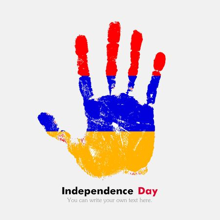 armenian: Hand print, which bears the Armenian flag. Independence Day. Grunge style. Grungy hand print with the flag. Hand print and five fingers. Used as an icon, card, greeting, printed materials.