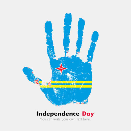 hand print: Hand print, which bears the Flag of Aruba. Independence Day. Grunge style. Grungy hand print with the flag. Hand print and five fingers. Used as an icon, card, greeting, printed materials.