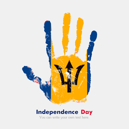 hand print: Hand print, which bears the Flag of Barbados. Independence Day. Grunge style. Grungy hand print with the flag. Hand print and five fingers. Used as an icon, card, greeting, printed materials.