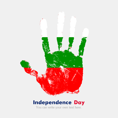 Hand print, which bears the Flag of Bulgaria. Independence Day. Grunge style. Grungy hand print with the flag. Hand print and five fingers. Used as an icon, card, greeting, printed materials.