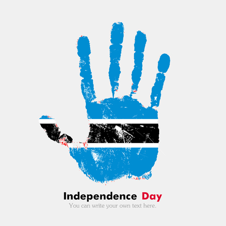hand print: Hand print, which bears the Flag of Botswanai. Independence Day. Grunge style. Grungy hand print with the flag. Hand print and five fingers. Used as an icon, card, greeting, printed materials.