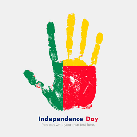 hand print: Hand print, which bears the Flag of Benin. Independence Day. Grunge style. Grungy hand print with the flag. Hand print and five fingers. Used as an icon, card, greeting, printed materials. Illustration