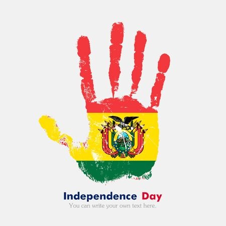 hand print: Hand print, which bears the Flag of Bolivia. Independence Day. Grunge style. Grungy hand print with the flag. Hand print and five fingers. Used as an icon, card, greeting, printed materials.