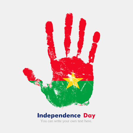 hand print: Hand print, which bears the Flag of Burkina Faso. Independence Day. Grunge style. Grungy hand print with the flag. Hand print and five fingers. Used as an icon, card, greeting, printed materials. Illustration