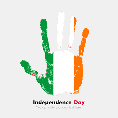 hand print: Hand print, which bears the Flag of Ireland. Independence Day. Grunge style. Grungy hand print with the flag. Hand print and five fingers. Used as an icon, card, greeting, printed materials.