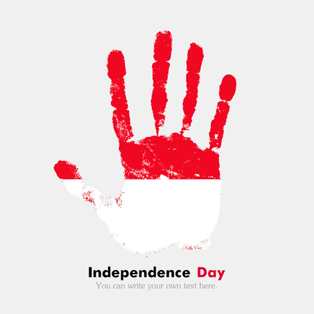 hand print: Hand print, which bears the Flag of Indonesia. Independence Day. Grunge style. Grungy hand print with the flag. Hand print and five fingers. Used as an icon, card, greeting, printed materials. Illustration