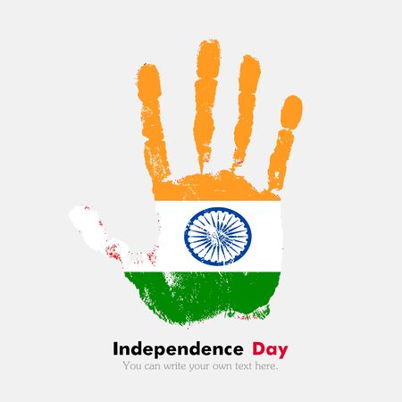 hand print: Hand print, which bears the Flag of India. Independence Day. Grunge style. Grungy hand print with the flag. Hand print and five fingers. Used as an icon, card, greeting, printed materials.
