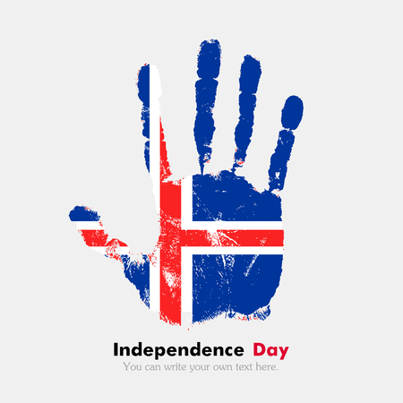 hand print: Hand print, which bears the Flag of Iceland. Independence Day. Grunge style. Grungy hand print with the flag. Hand print and five fingers. Used as an icon, card, greeting, printed materials.