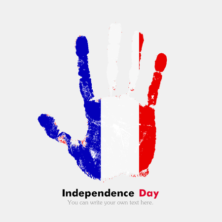 hand print: Hand print, which bears the Flag of France. Independence Day. Grunge style. Grungy hand print with the flag. Hand print and five fingers. Used as an icon, card, greeting, printed materials.