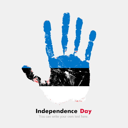hand print: Hand print, which bears the Flag of Estonia. Independence Day. Grunge style. Grungy hand print with the flag. Hand print and five fingers. Used as an icon, card, greeting, printed materials.