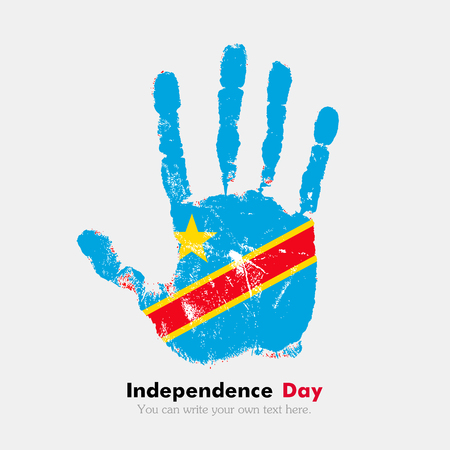 hand print: Hand print, which bears the Flag of Democratic Republic of Congo. Independence Day. Grunge style. Grungy hand print with the flag. Hand print and five fingers. Used as an icon, card, greeting, printed materials. Illustration