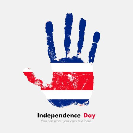 hand print: Hand print, which bears the Flag of Costa Rica. Independence Day. Grunge style. Grungy hand print with the flag. Hand print and five fingers. Used as an icon, card, greeting, printed materials. Illustration