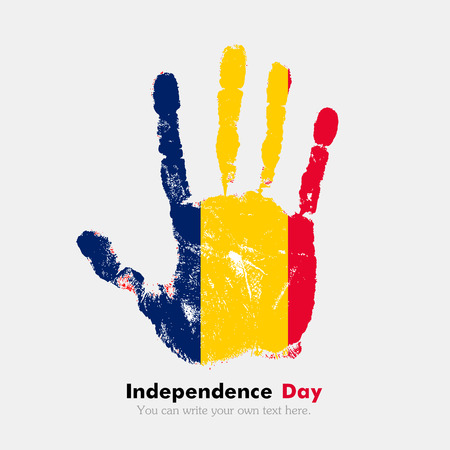 hand print: Hand print, which bears the Flag of Chad. Independence Day. Grunge style. Grungy hand print with the flag. Hand print and five fingers. Used as an icon, card, greeting, printed materials.