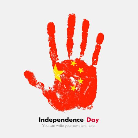 hand print: Hand print, which bears the Flag of China. Independence Day. Grunge style. Grungy hand print with the flag. Hand print and five fingers. Used as an icon, card, greeting, printed materials.