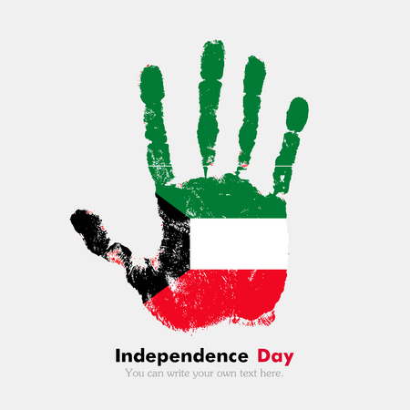 hand print: Hand print, which bears the Flag of Kuwait. Independence Day. Grunge style. Grungy hand print with the flag. Hand print and five fingers. Used as an icon, card, greeting, printed materials.
