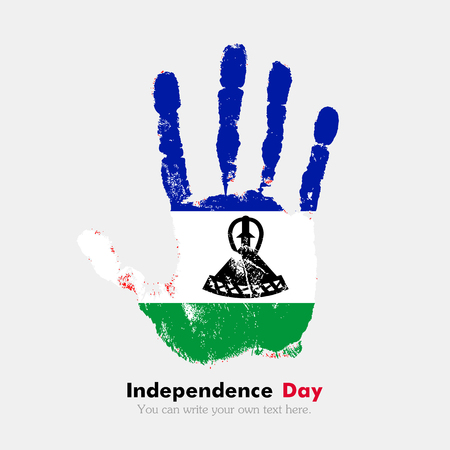 hand print: Hand print, which bears the Flag of Lesotho. Independence Day. Grunge style. Grungy hand print with the flag. Hand print and five fingers. Used as an icon, card, greeting, printed materials. Illustration