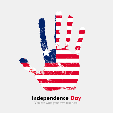 hand print: Hand print, which bears the Flag of Liberia. Independence Day. Grunge style. Grungy hand print with the flag. Hand print and five fingers. Used as an icon, card, greeting, printed materials.