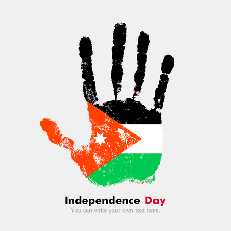 hand print: Hand print, which bears the Flag of Jordan. Independence Day. Grunge style. Grungy hand print with the flag. Hand print and five fingers. Used as an icon, card, greeting, printed materials.