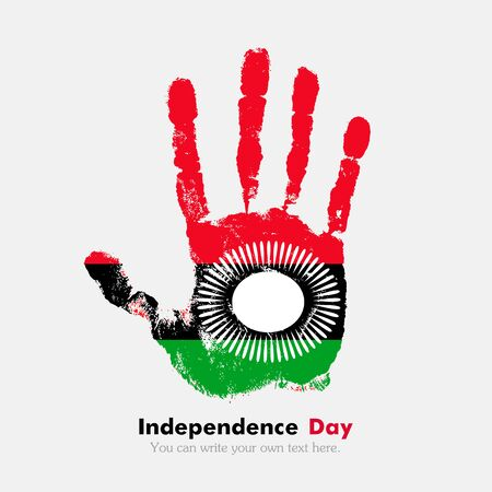 hand print: Hand print, which bears the Flag of Malawi. Independence Day. Grunge style. Grungy hand print with the flag. Hand print and five fingers. Used as an icon, card, greeting, printed materials. Illustration