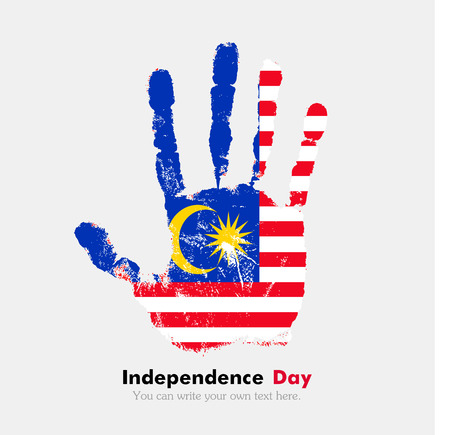 Hand print, which bears the Flag of Malaysia. Independence Day. Grunge style. Grungy hand print with the flag. Hand print and five fingers. Used as an icon, card, greeting, printed materials.